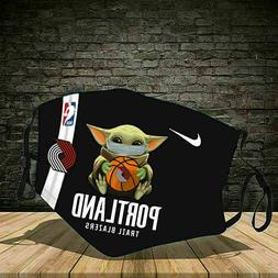 HOT!!! Baby Yoda Portland Trail Blazers  Cloth Mask 3D Unise