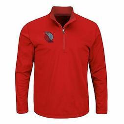 NBA APPAREL Red Portland Trail Blazers Birdseye 1/4 Zip Poly