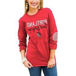 Portland Trail Blazers Women's Red Elbow Patch Long Sleeve T